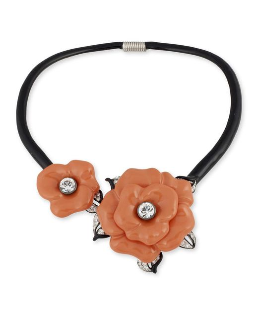 Kenneth Jay Lane | Orange Coral Flower Collar Necklace | Lyst