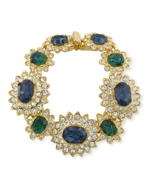 Kenneth Jay Lane | Blue Sapphire And Emerald Bracelet | Lyst