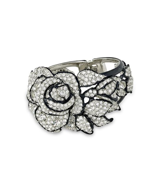 Kenneth Jay Lane | Metallic Pave' Rose Bracelet | Lyst
