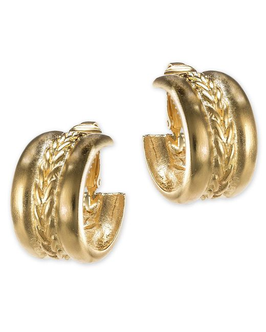 Kenneth Jay Lane | Metallic Braid Design Hoop Earring | Lyst