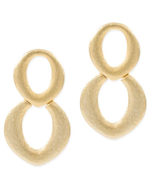 Kenneth Jay Lane | Metallic Gold Doorknocker Pierced Earring | Lyst