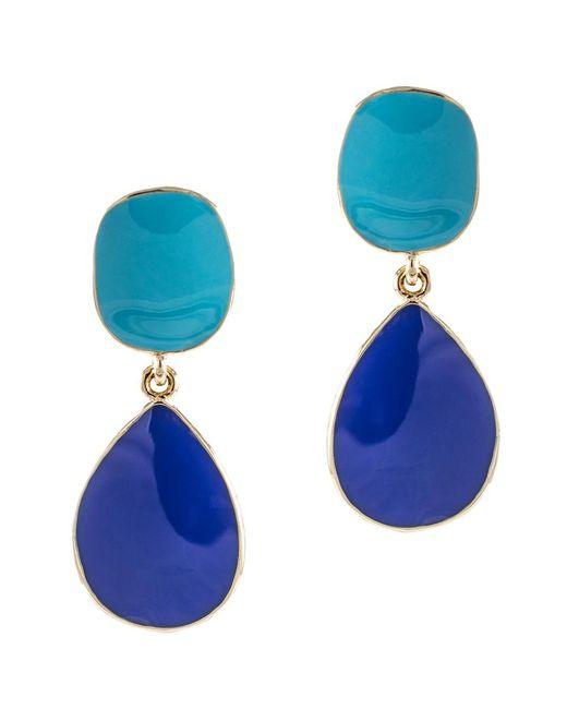 Kenneth Jay Lane | Blue Turquoise And Lapis Enamel Drop Pierced Earring | Lyst