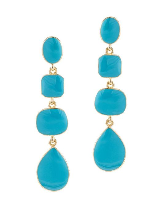 Kenneth Jay Lane | Blue Turquoise Gold Finish Drop Pierced Earring | Lyst