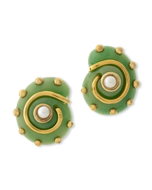 Kenneth Jay Lane | Green Jade Snail Clip Earring | Lyst