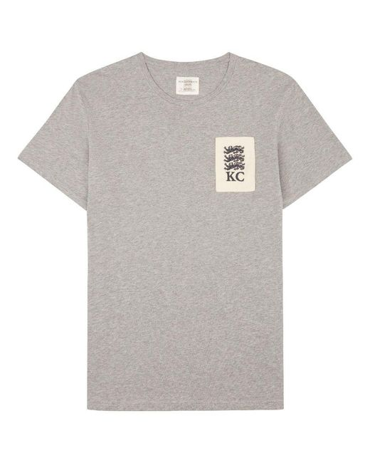 Kent curwen three lions embroidered t shirt in grey for
