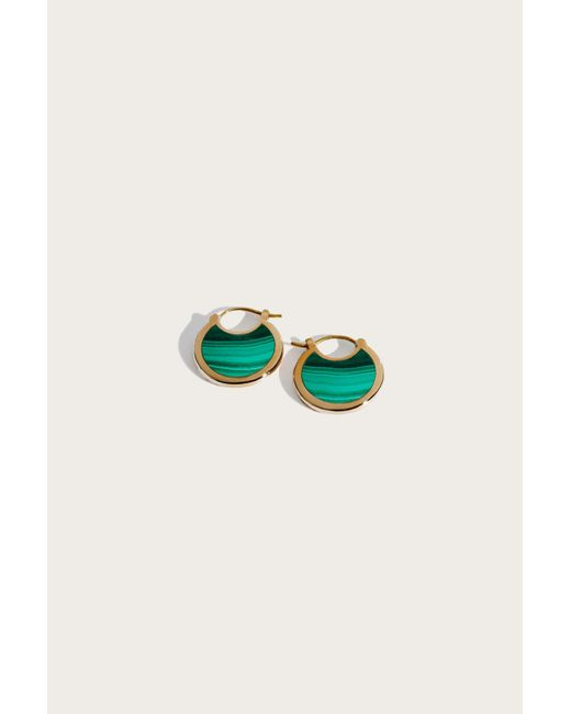 Pamela Love | Green Mojave Hoops With Brass And Malachite | Lyst