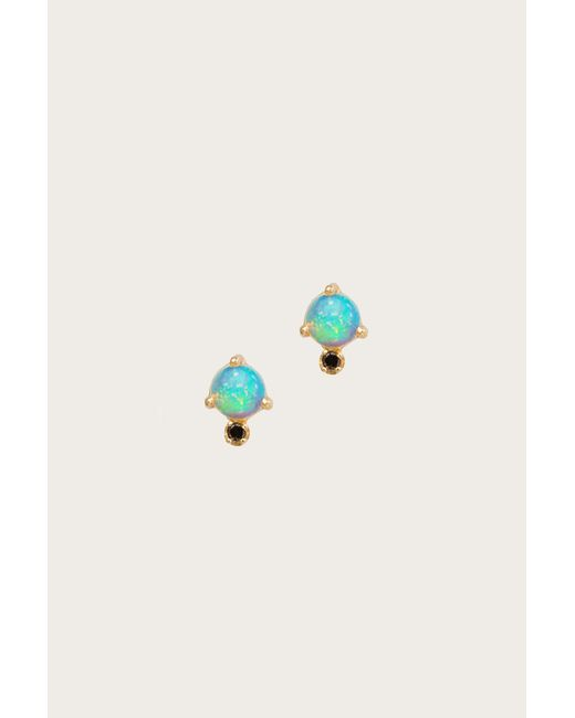 Wwake - Multicolor Classic Opal And Black Diamond Earrings - Lyst