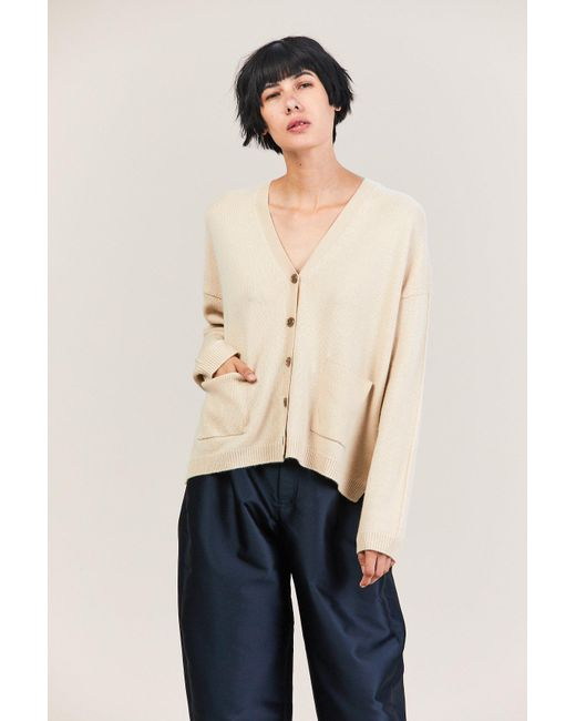 Allude - Natural Wide Cardigan - Lyst
