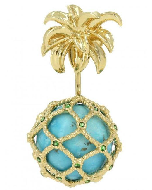 Yvonne Léon - Metallic Turquoise Mini Pineapple Gold Earring - Lyst