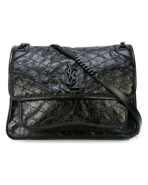 Saint Laurent - Black Quilted Shoulder Bag - Lyst ... 1599585855d31