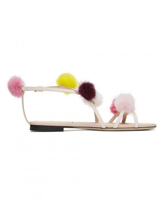 Fendi - Pink Strapped Fur Pom Pom Sandals - Lyst