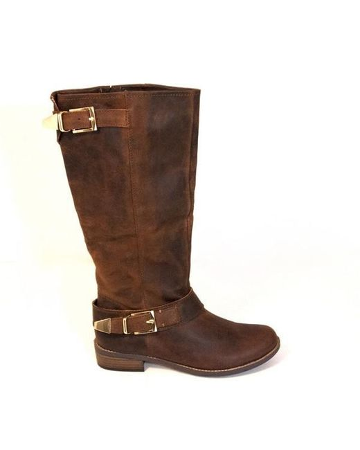 f5a7a0ae59f2 Steve madden Suspekt - Brown Leather Riding Boot in Brown