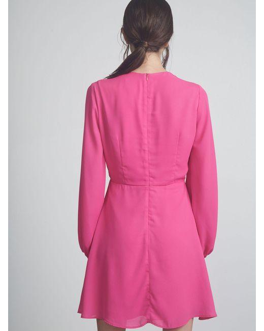 77315f61437da ... Krisa - Pink L/s Fit And Flare Mini - Lyst ...