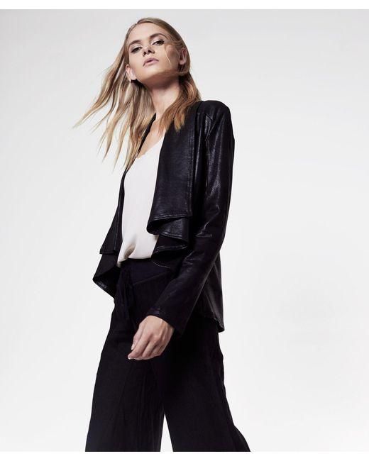 Krisa | Black Coated Drape Jacket | Lyst