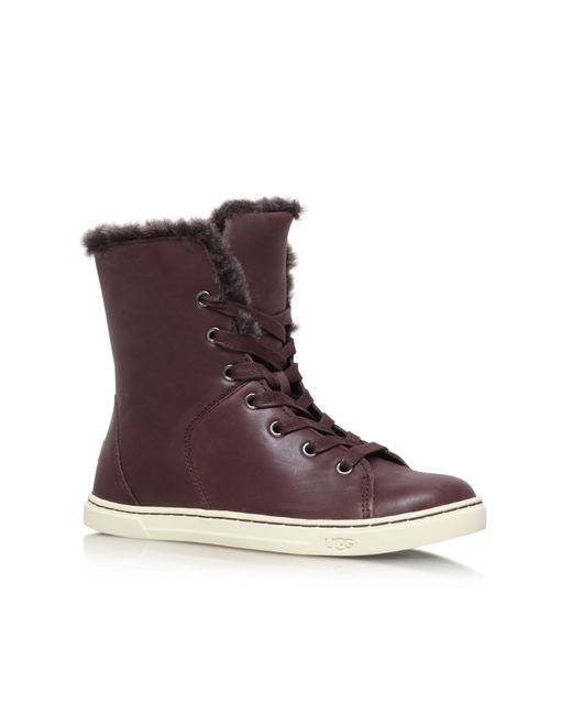 UGG | Brown ® Croft Luxe Quilt Burnished Leather Lace Up Sneakers | Lyst