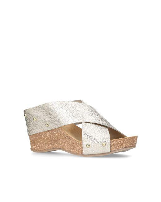 Carvela Kurt Geiger - Metallic Gold 'sooty' Mid Heel Wedge Sandals - Lyst