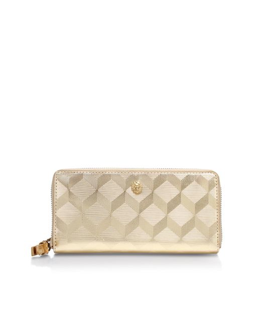 Anne Klein - Metallic Slim Zip Around Purse - Lyst