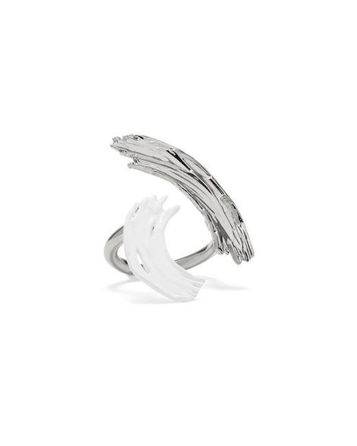 Lady Grey - Metallic Louise Ring In Rhodium And White - Lyst