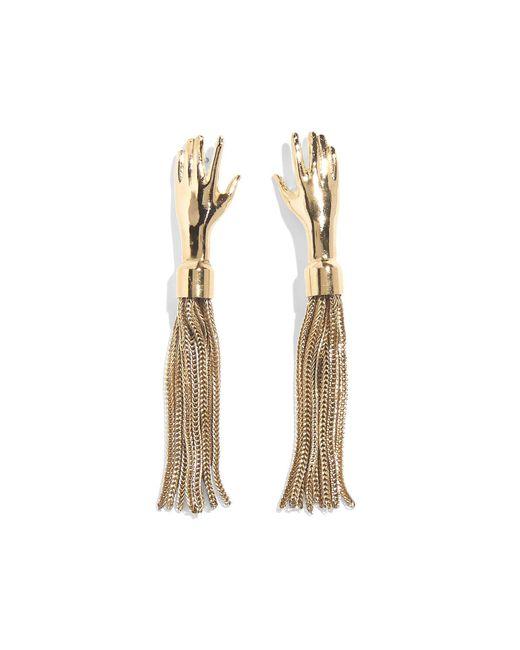 Lady Grey Metallic Hand Tassel Earring In Gold