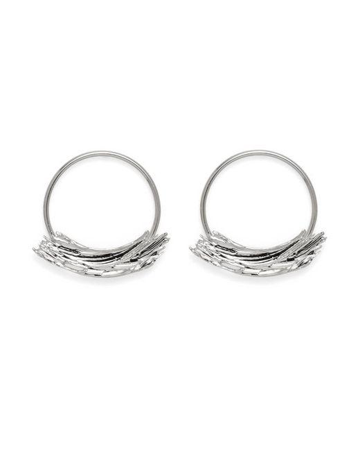 Lady Grey Metallic Brushstroke Hoops In Rhodium