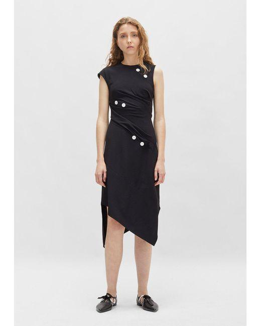 Proenza Schouler - Black Satin Sable Asymmetrical Dress - Lyst