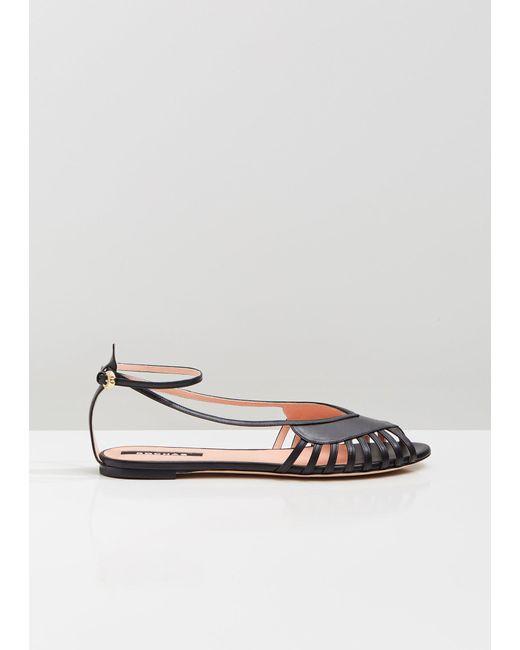 fc9cffc8f4c5 Rochas - Black Ankle Strap Flat Sandals - Lyst ...