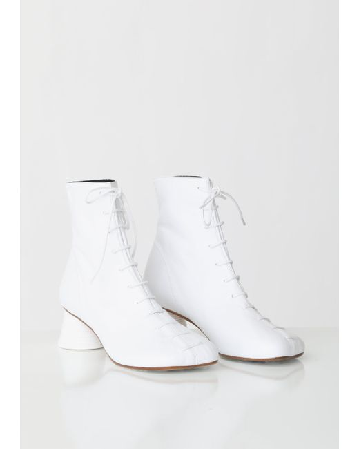4564178893e52 ... MM6 by Maison Martin Margiela - White Lace Up Cup Heeled Boots - Lyst  ...