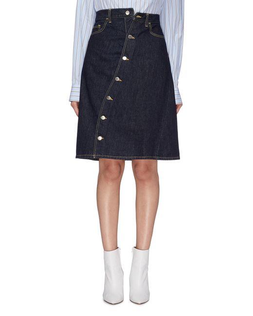 Facetasm - Blue Slant Button Front Denim Skirt - Lyst