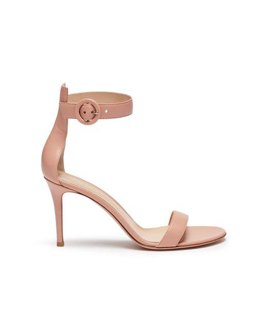 Gianvito Rossi - Pink 'portofino 85' Ankle Strap Leather Sandals - Lyst