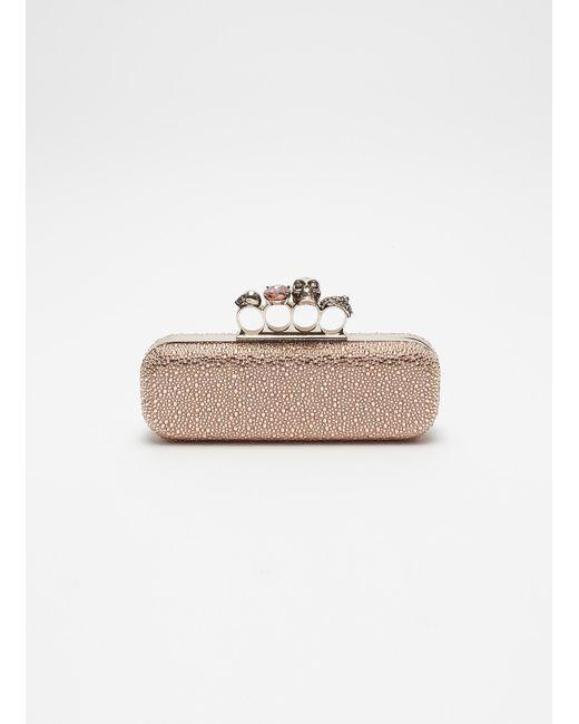 d28ffb2278ed Alexander McQueen - Multicolor Swarovski Crystal Suede Knuckle Clutch - Lyst  ...