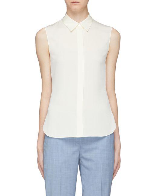 3aac9e0e93 Theory - White Silk Georgette Sleeveless Shirt - Lyst ...