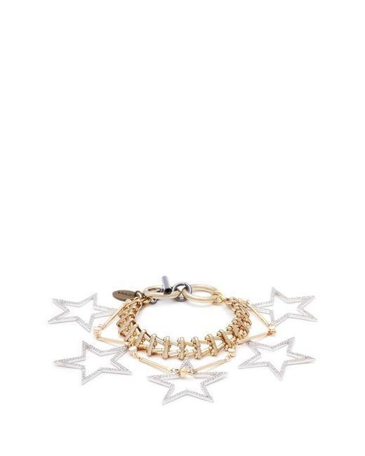 Venna - Metallic Glass Crystal Star Charm Bracelet - Lyst