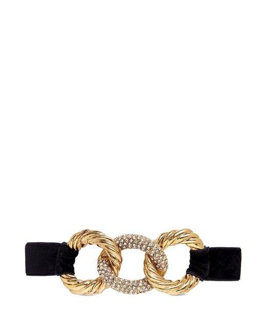 Erickson Beamon | Metallic 'linkedin' Swarovski Crystal Interlocking Hoop Charm Velvet Choker | Lyst