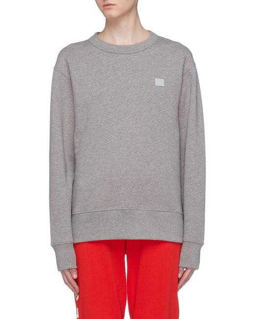 Acne - Gray 'fairview Face' Patch Sweatshirt - Lyst