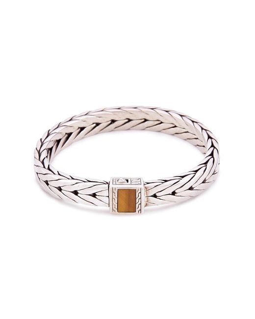 John Hardy - Metallic Tiger's Eye Stone Silver Weave Effect Link Chain Bracelet - Lyst