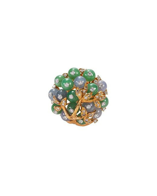 LC COLLECTION - Metallic Diamond Jade 18k Rose Gold Ring - Lyst
