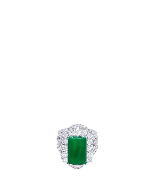 LC COLLECTION - Metallic Diamond Jade 18k Gold Scallop Ring - Lyst