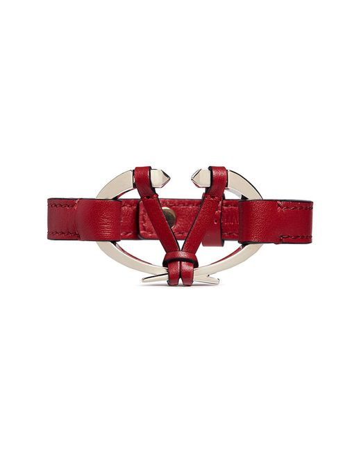 Valentino - Red Logo Plate Leather Bracelet - Lyst