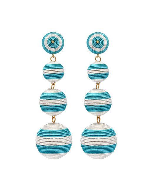 Kenneth Jay Lane - Blue Stripe Threaded Sphere Clip Drop Earrings - Lyst