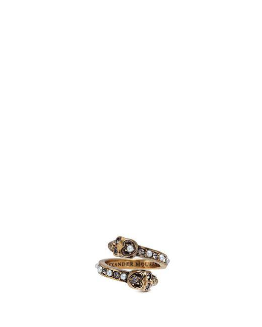Alexander McQueen - Metallic Swarovski Crystal Faux Pearl Double Skull Swirl Ring - Lyst