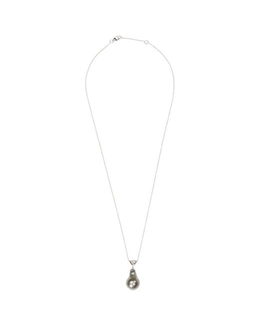 LC COLLECTION - Black Diamond Pearl 18k Gold Pendant Necklace - Lyst