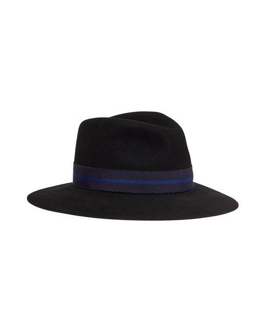Maison Michel - Black 'henrietta' Rabbit Furfelt Fedora Hat - Lyst