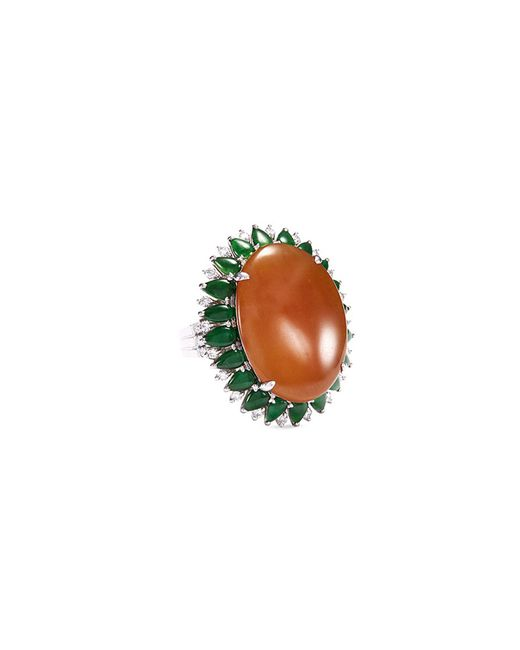 LC COLLECTION - Metallic Diamond Jade 18k White Gold Ring - Lyst
