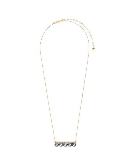 Tasaki | Metallic 'balance' Tahitian Pearl 18k Yellow Gold Bar Pendant Necklace | Lyst