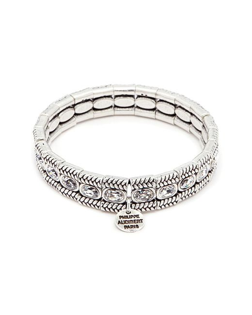 Philippe Audibert - Metallic 'claud' Swarovski Crystal Braid Effect Plate Elastic Bracelet - Lyst