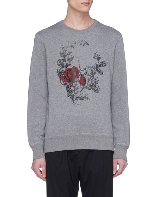 Alexander McQueen - Gray Rose Skull Print Sweatshirt for Men - Lyst