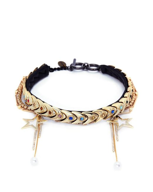 Venna - Multicolor Star Charm Faux Pearl Glass Crystal Leather Choker - Lyst