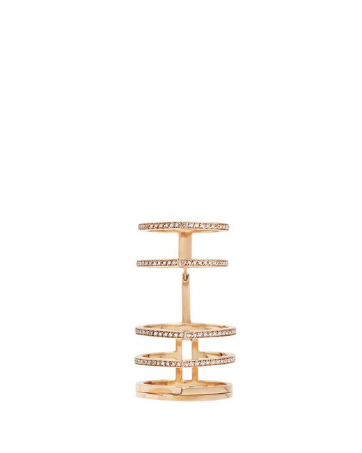 Repossi | Metallic 'antifer' Diamond Pavé 18k Rose Gold Six Row Linked Ring | Lyst