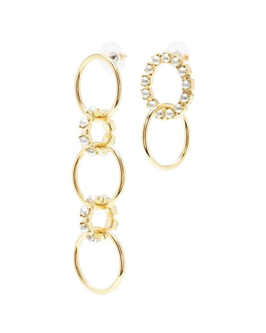 Joomi Lim - Metallic Swarovski Pearl Mismatched Interlocking Hoop Drop Earrings - Lyst