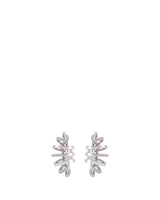 Dauphin | Diamond 18k White Gold Cage Clip Earrings | Lyst